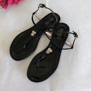 Coach Patent Leather Thong Sandals Size 5